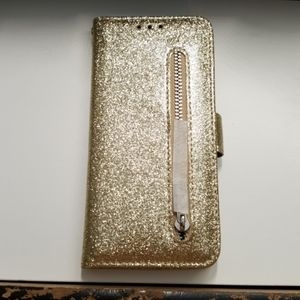 Wallet case for samsung galaxy s10 color gold new